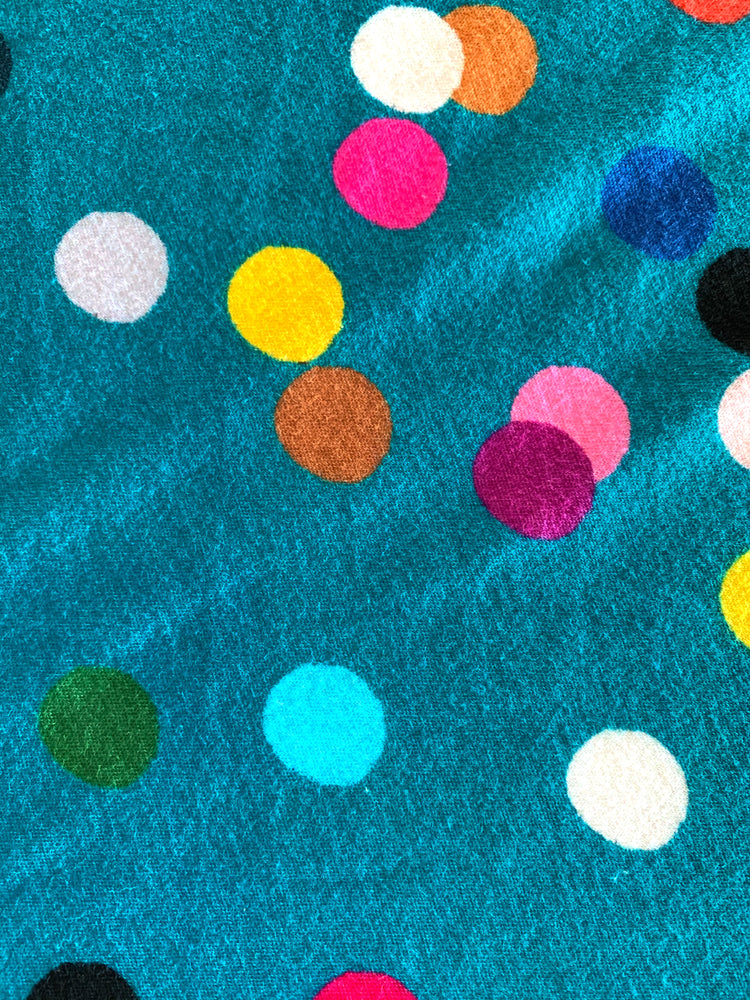 Teal Confetti 100% Organic cotton knit