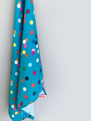 Teal Confetti linen+cotton tea towel