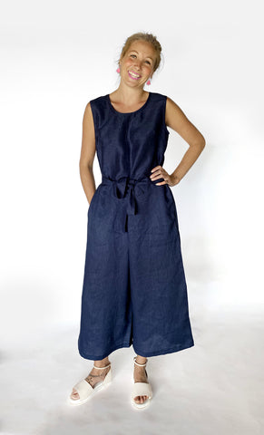 Navy 100% linen jumpsuit with tie