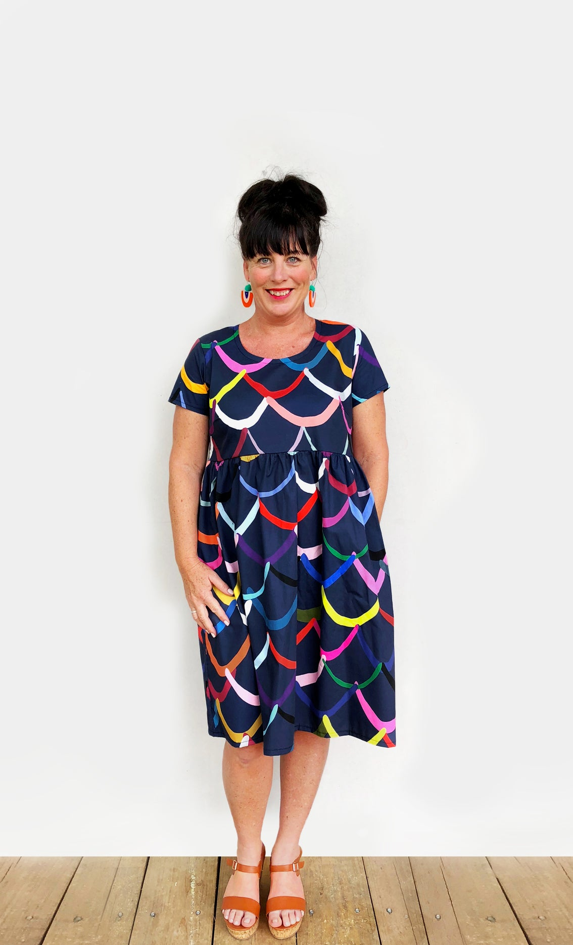 (ALL SIZES RE- STOCKED)Bright Waves 100% Cotton Pleated Dress (navy)