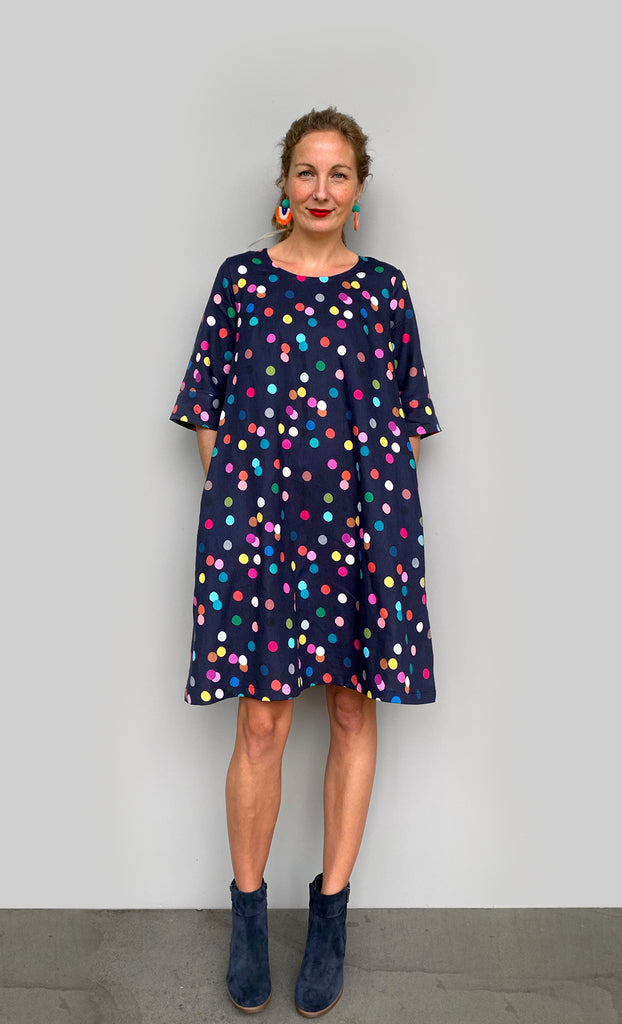 Confetti linen dress with tie (navy)