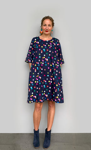 NEW Confetti linen dress with tie (navy)