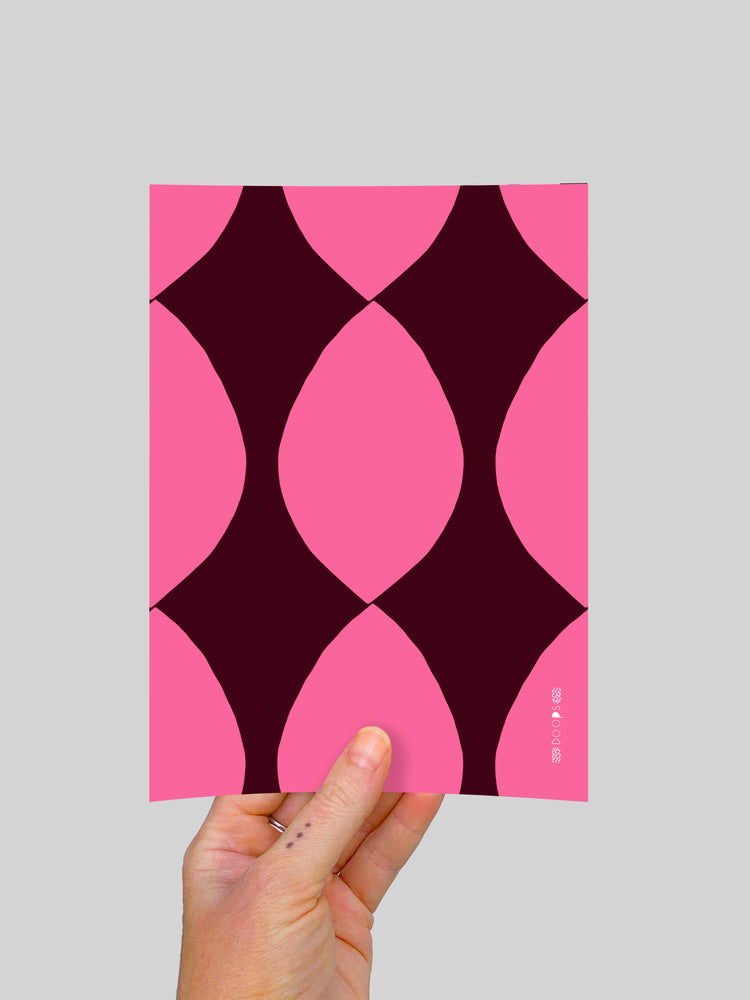 Pink Twist (large) A5 Postcard
