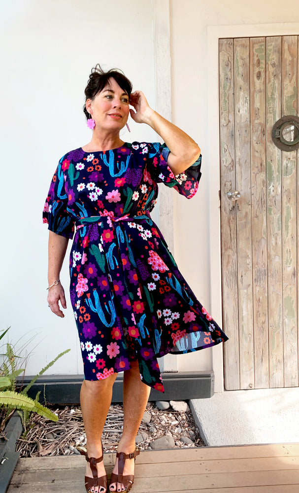 Bloom dress 100% cotton (2 LEFT XS & M DRESS WITH TIE)