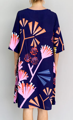 Protea dress with tie 100% cotton (one left)