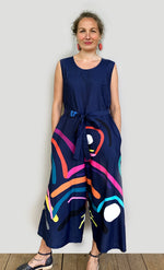 Doops Loops 100% linen jumpsuit (navy) with tie