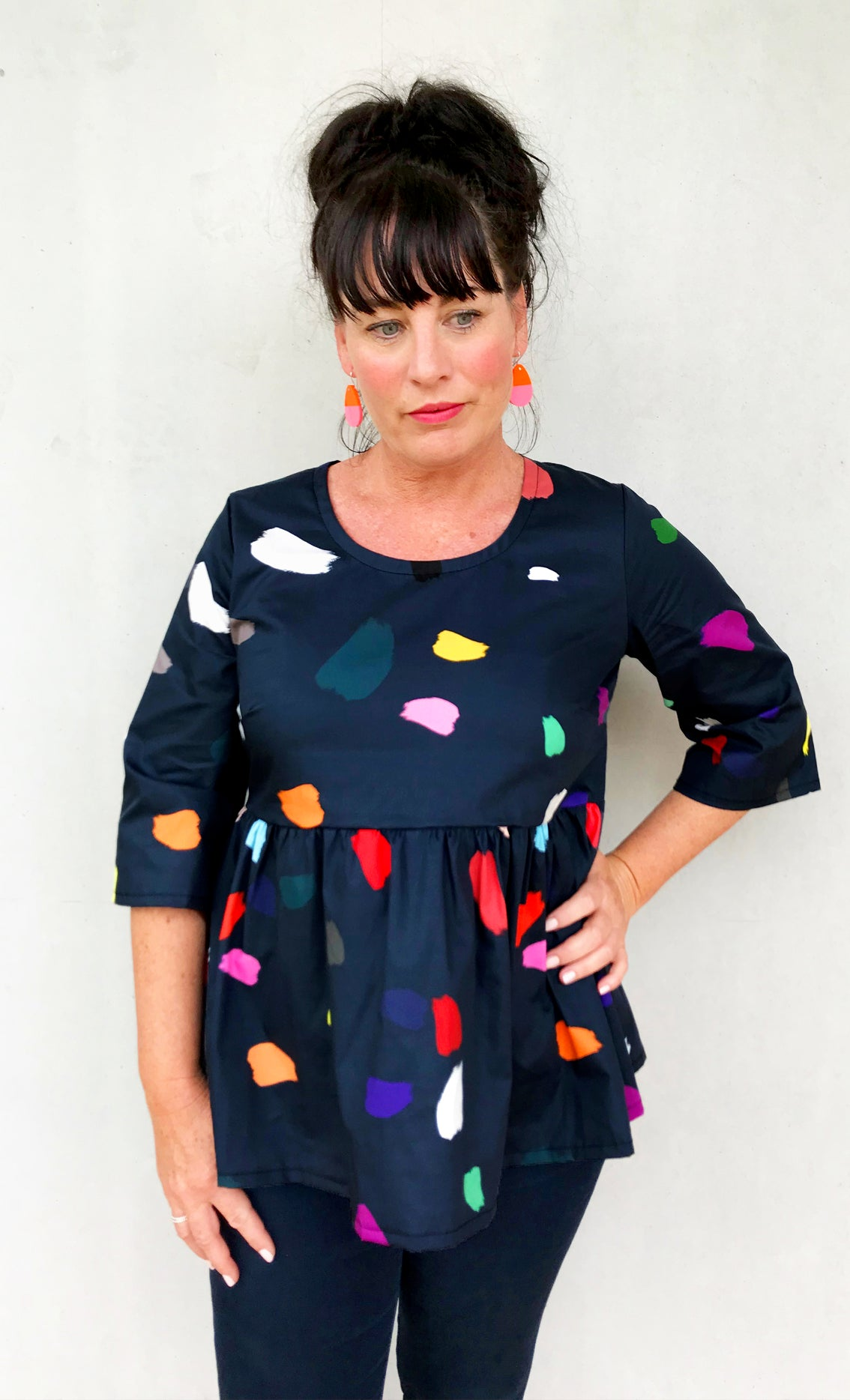 (ALL SIZES RE-STOCKED)Colour Splat 100% Organic Cotton Pleated Top (navy)