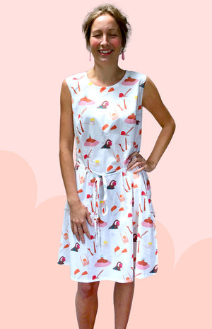 Bathing ladies 100% cotton dress with pockets (White or Navy)