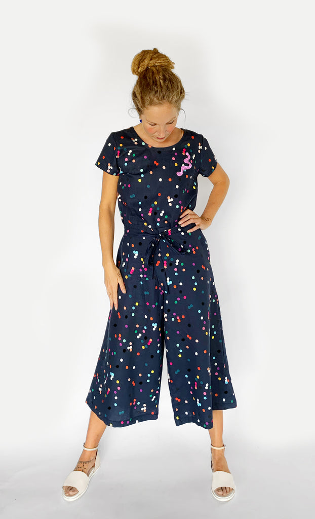 Confetti 100% linen jumpsuit (navy) with tie & option on sleeve