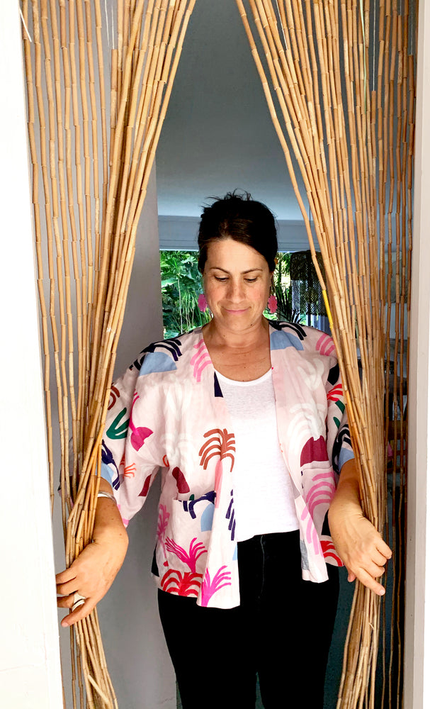 Load image into Gallery viewer, Peach Palms Kimono 100% linen cotton top