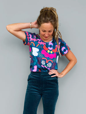 Load image into Gallery viewer, Teal Kooki 100% organic jersey T'shirt