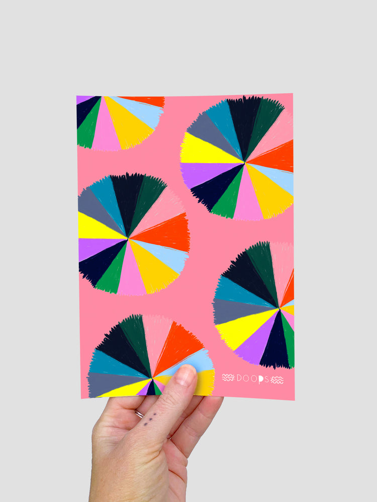 Colour Love Wheel pattern(large) A5 Postcard