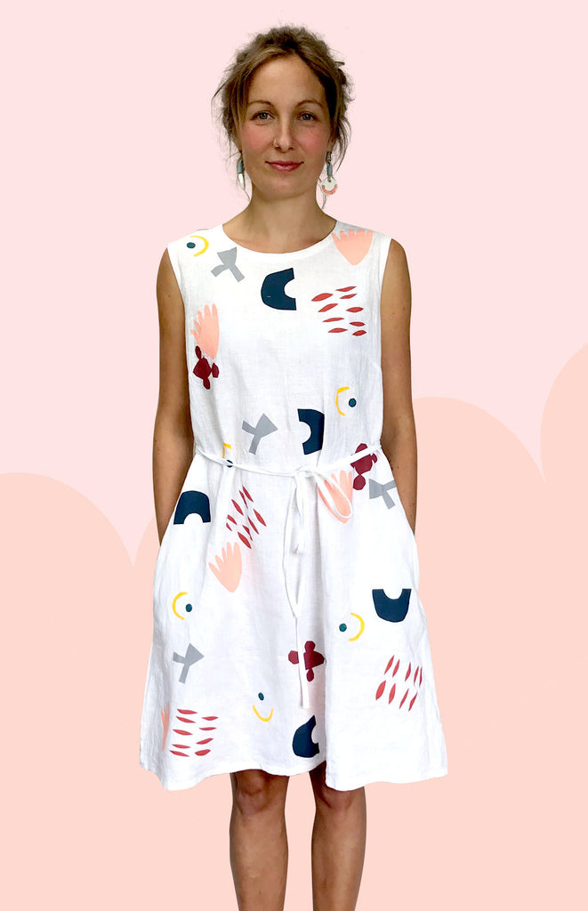 SALE Chop Cut Play Screen Printed 100% linen dress