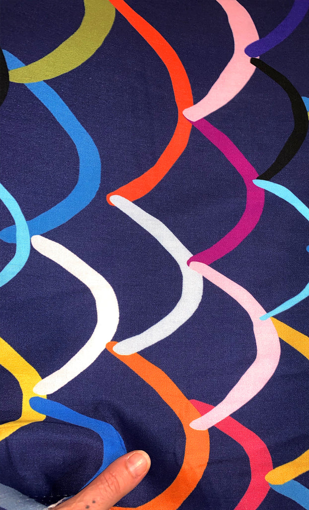 Bright Waves (navy) 100% cotton satin per metre
