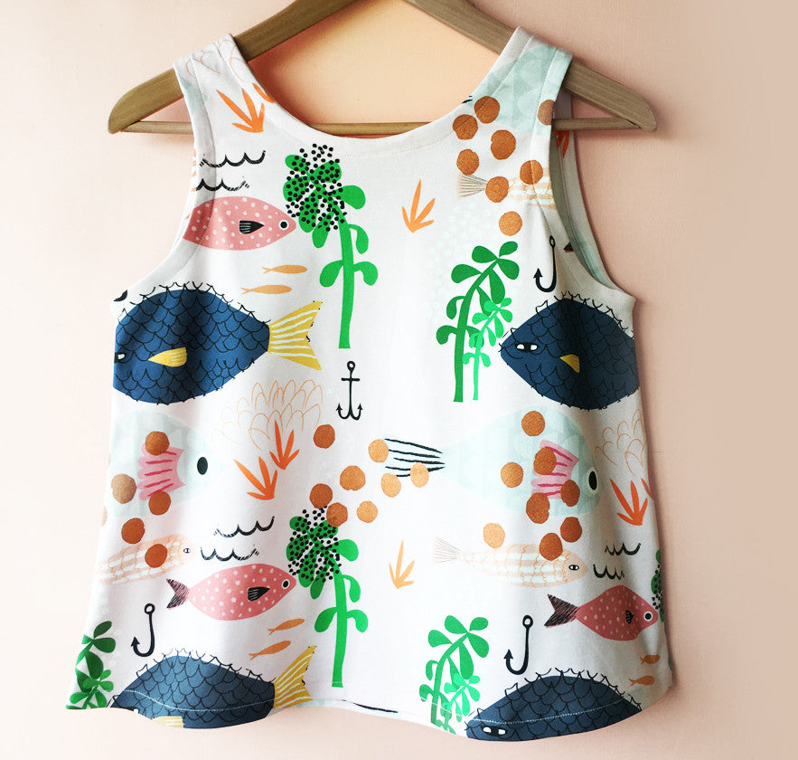 Fishy Garden 100% Organic Cotton Knit Ladies Top - designed by Doops Designs