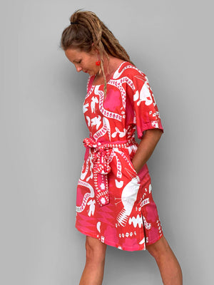 Red Kooki linen dress with tie