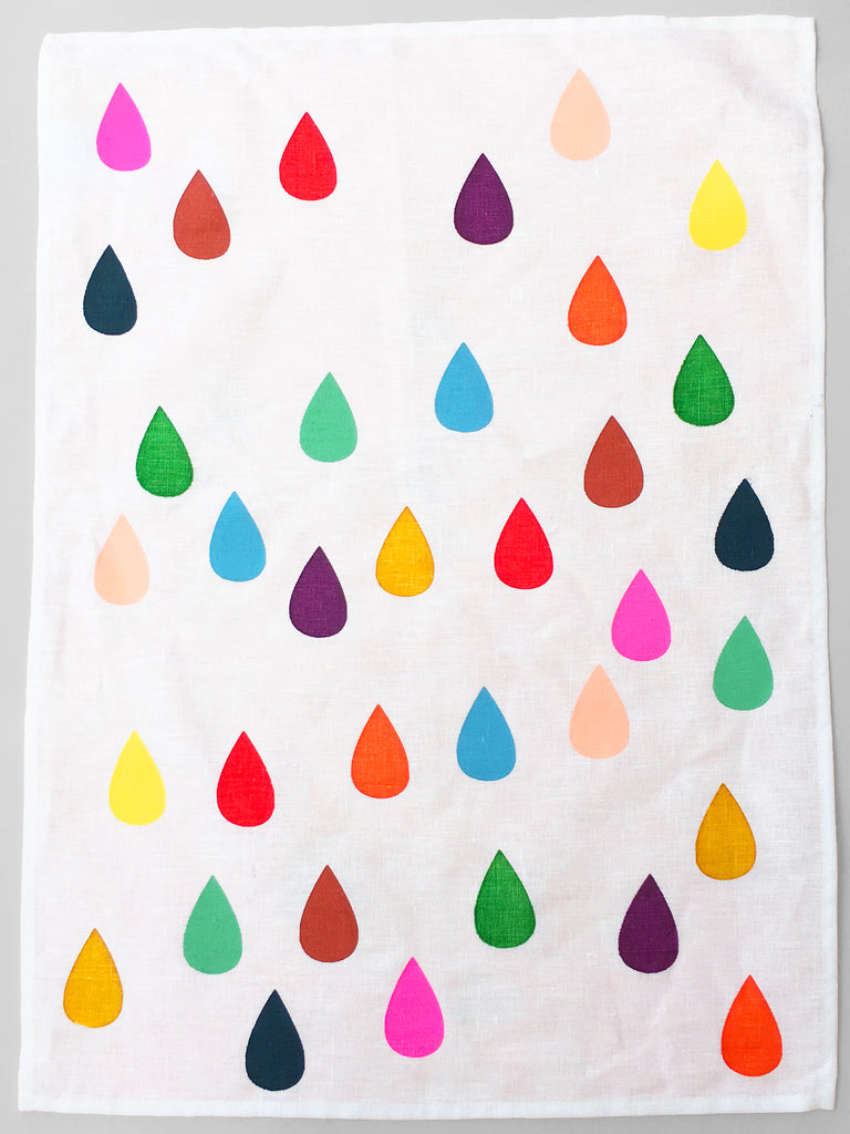 "Screen Printed ""Bright Drops"" Off White Linen Tea Towel"
