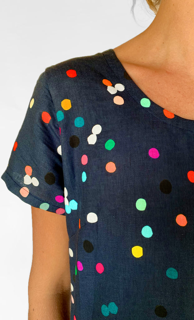 Confetti 100% linen jumpsuit (navy) with tie (BACK IN STOCK)