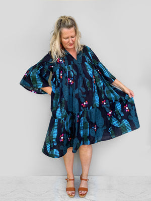 Cacti pleated dress 100% lawn cotton (this is our NEW pleated pattern using our popular Blink Cacti fabric)
