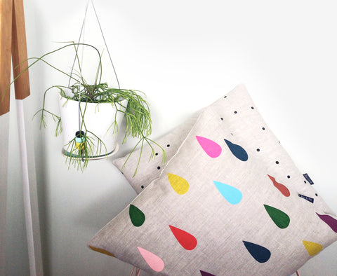 """Colourful Rain Drop Linen Pillow"" screen printed (oatmeal linen)"