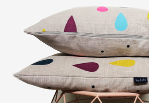 "Load image into Gallery viewer, ""Colourful Rain Drop Linen Pillow"" screen printed (oatmeal linen)"