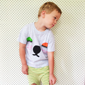 """Snoozy Bear"" Organic Grey Cotton Screen Printed 3-4 size kids Top"