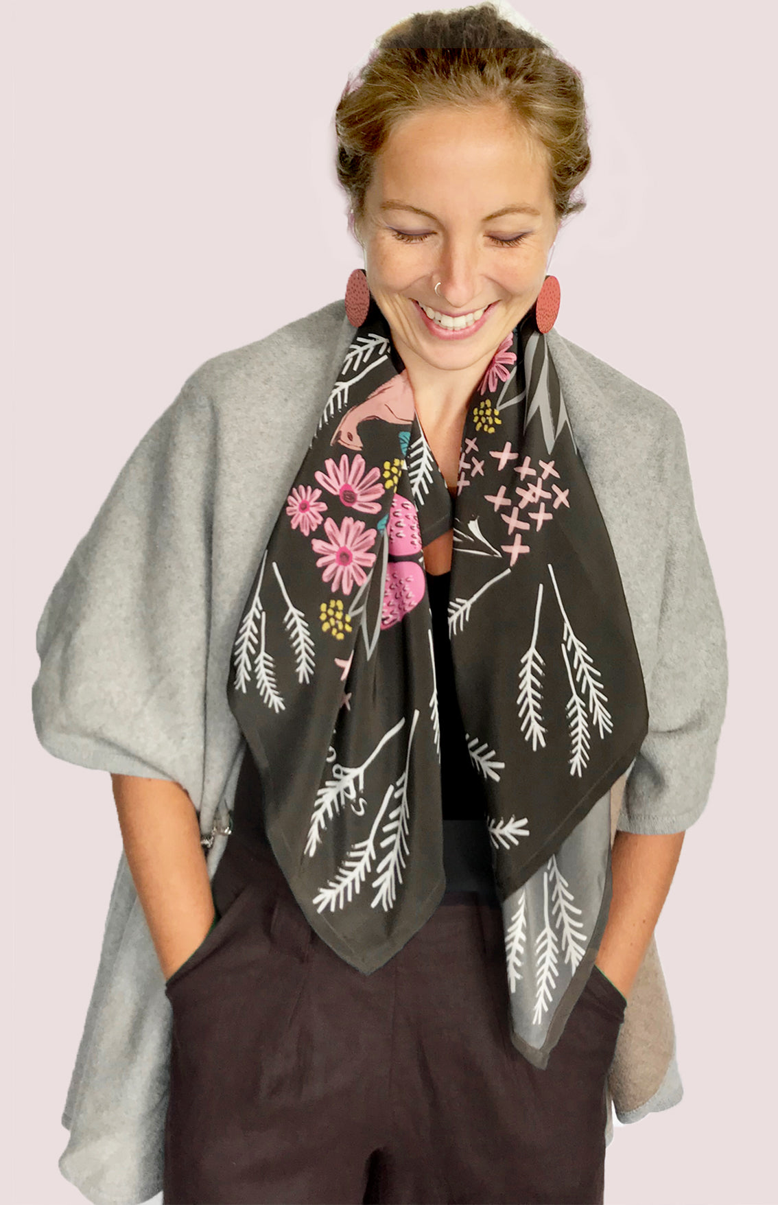 Cowley Fields Silk Crepe De Chine Scarf.