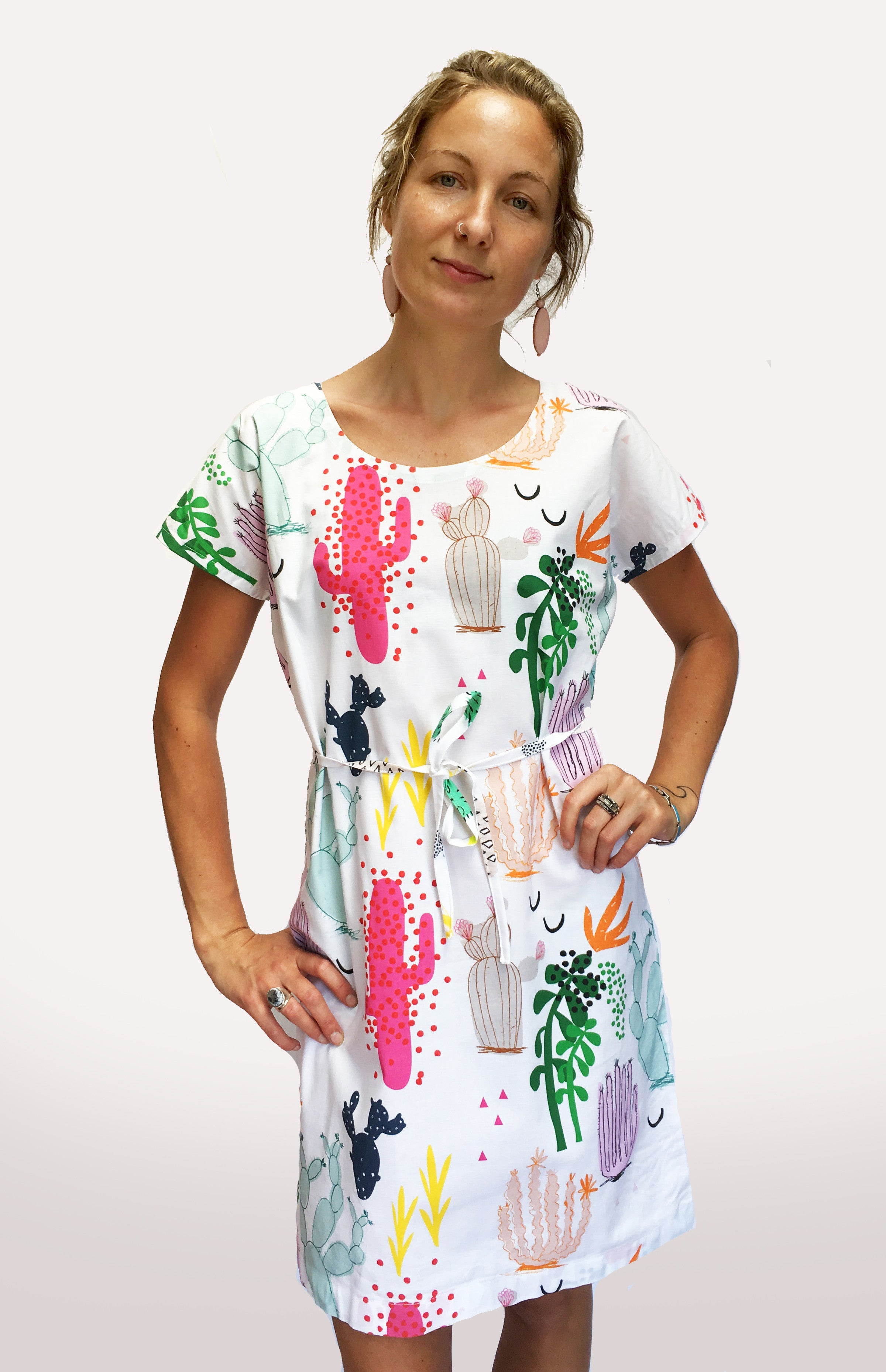 Tropical Cactus Garden 100% cotton ladies sleeve dress