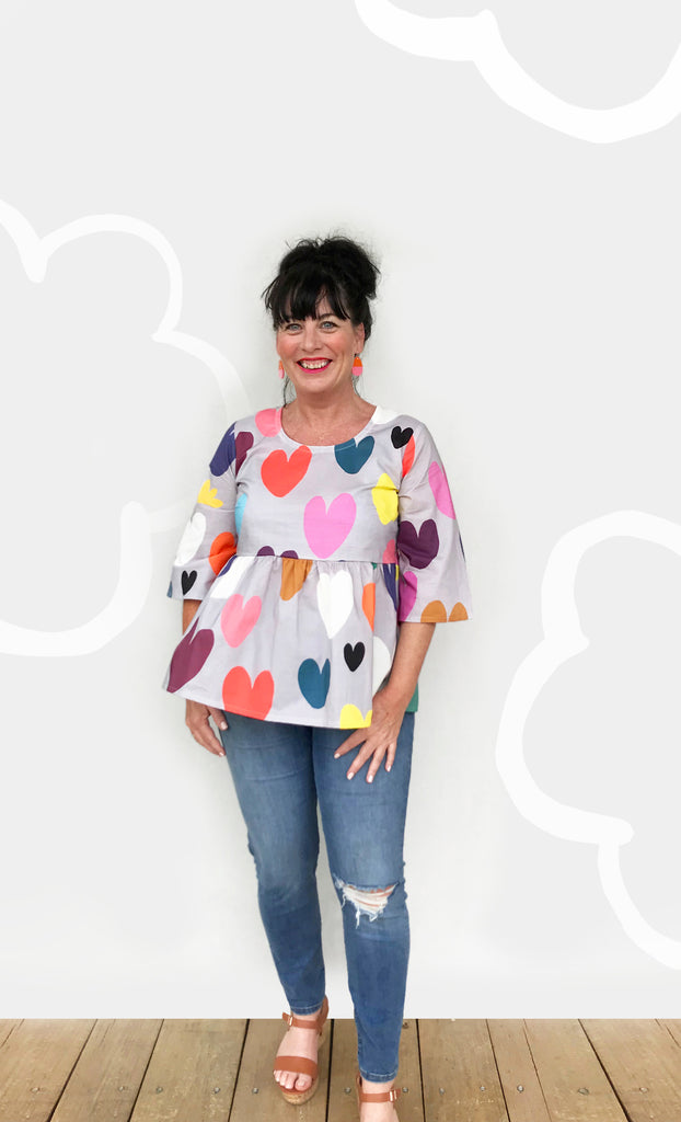 Bright Hearts 100% Cotton Pleated Top (light dusty blue) seconds