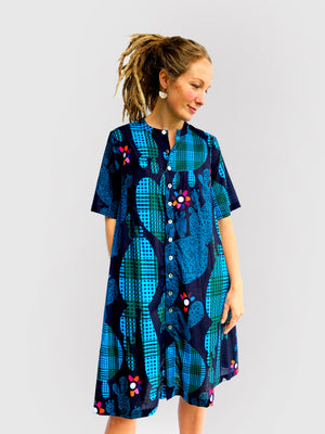 Blink Cactus 100% cotton dress with tie