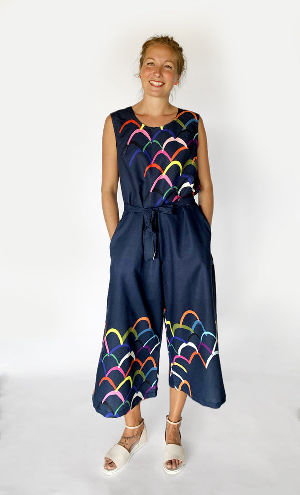 Upside Down 100% linen jumpsuit (navy) with tie