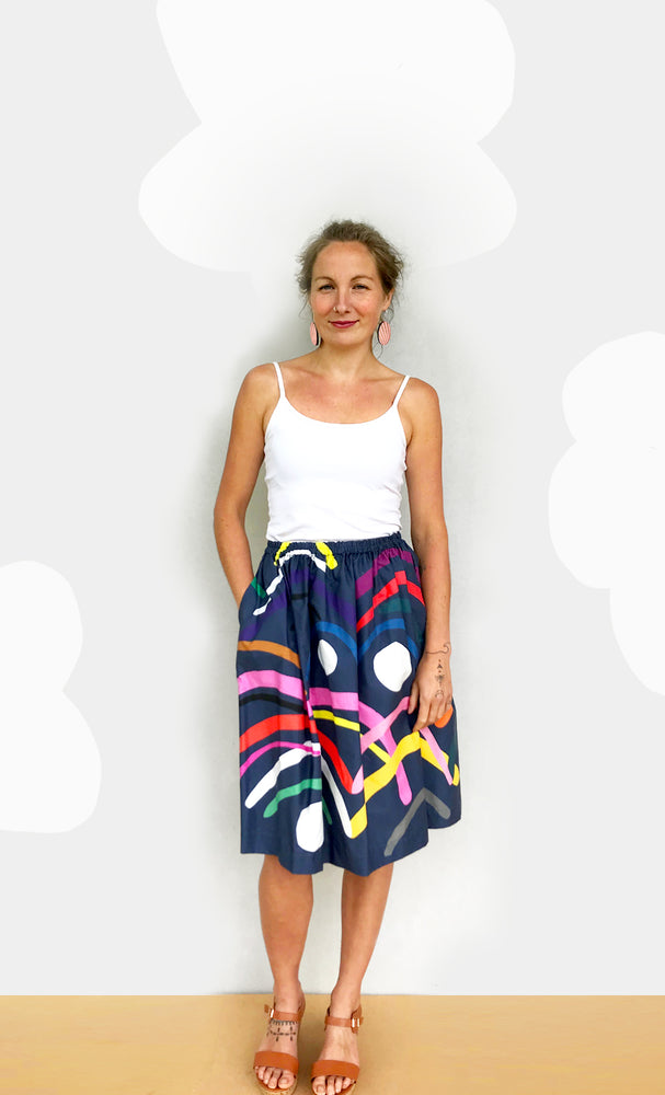 Load image into Gallery viewer, Doops Loops 100% cotton skirt (light navy)