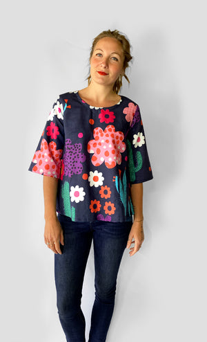 Bloom 100% linen 3 quarter sleeves top