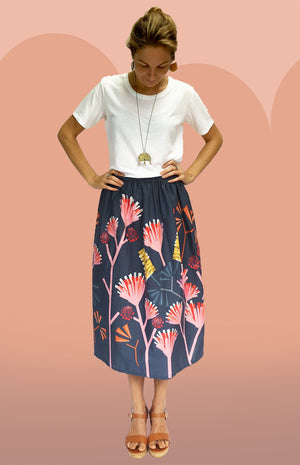 Load image into Gallery viewer, Mauve Protea SILK skirt (SECONDS)