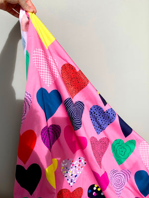 Peachy Hearts 100% cotton per metre