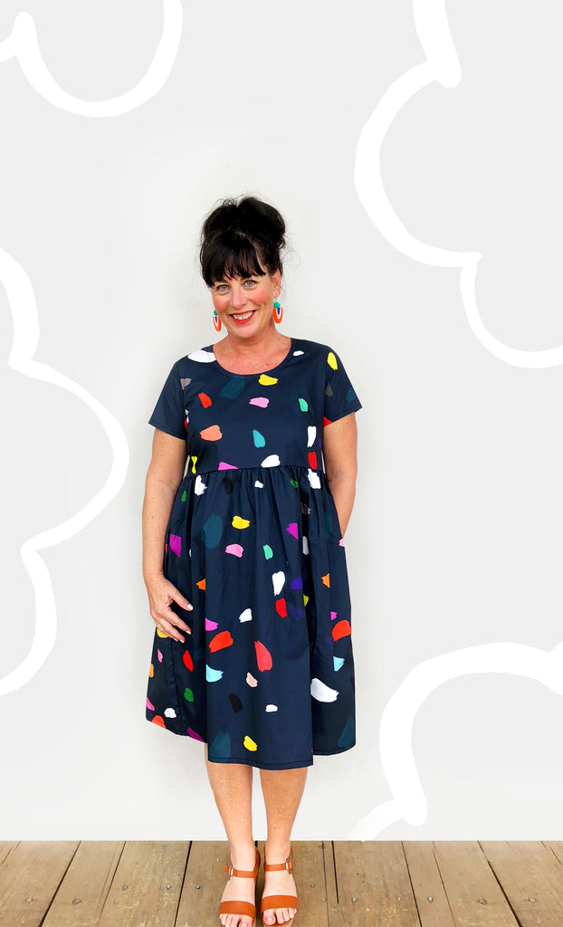 Navy Splat 100% Cotton Pleated Dress