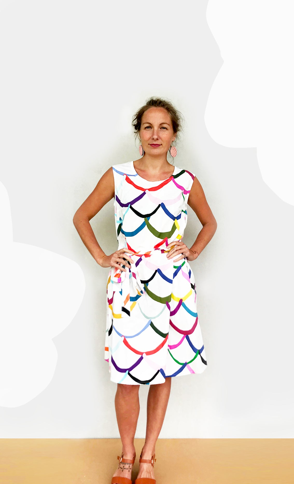Pre - order Bright Wave 100% cotton dress with tie (white)