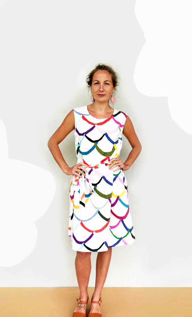 Bright Wave 100% cotton dress with tie (white)