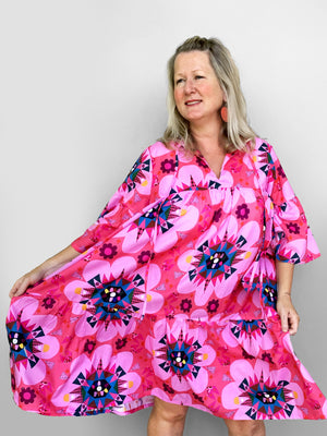 Pink Cacti pleated dress 100% lawn cotton (this is our NEW pleated pattern using our popular Blink Cacti fabric)