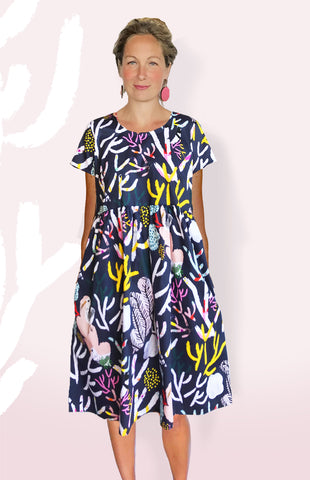 Navy Coral Garden 100% Organic Cotton Pleated Dress