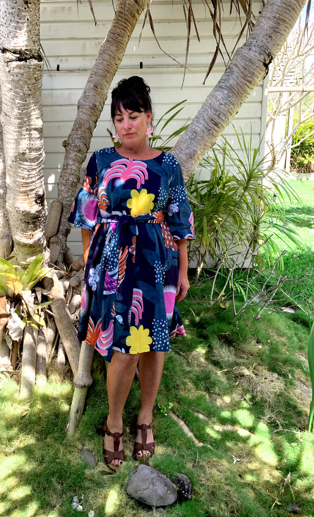 Tropical Garden 100% cotton dress with tie