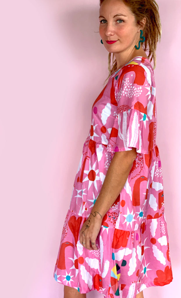 Pink Spells pleated dress 100% cotton
