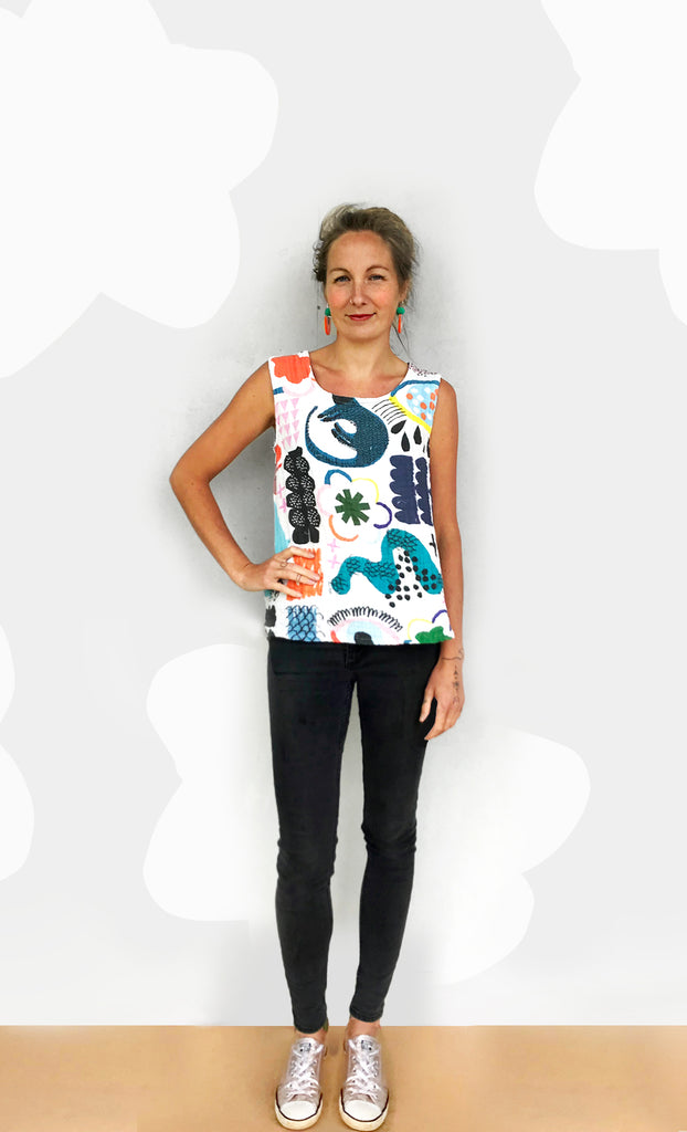 Doops Play 100% organic sweet pea gauze sleeveless top (white) & A FEW ORGANIC JERSEY'S LEFT