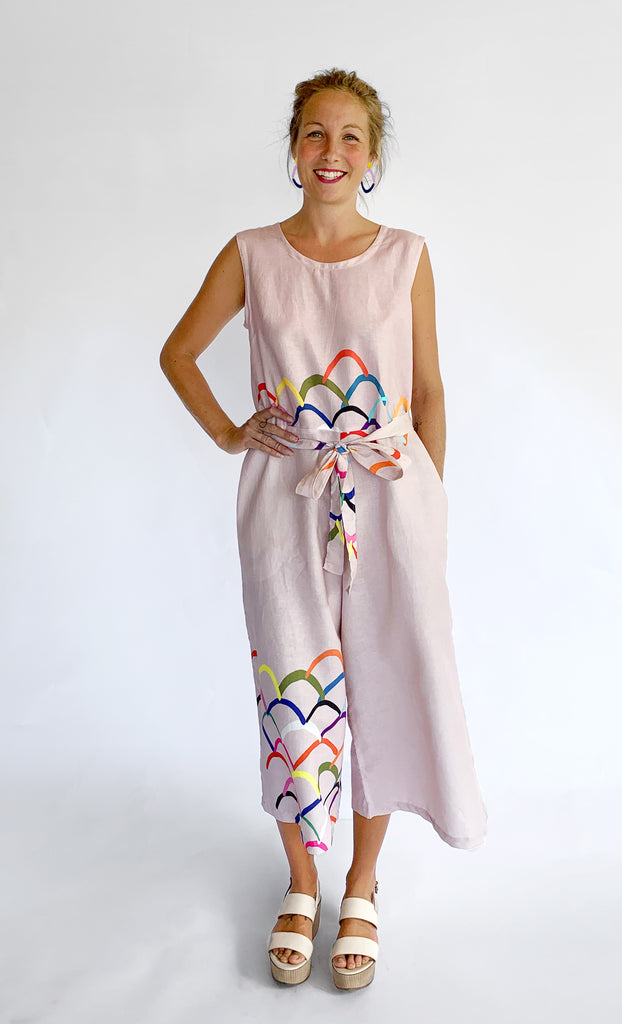 Upside Down 100% linen jumpsuit (pale peachy pink) with tie