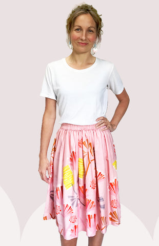 Pink Mauve Protea 100% cotton skirt
