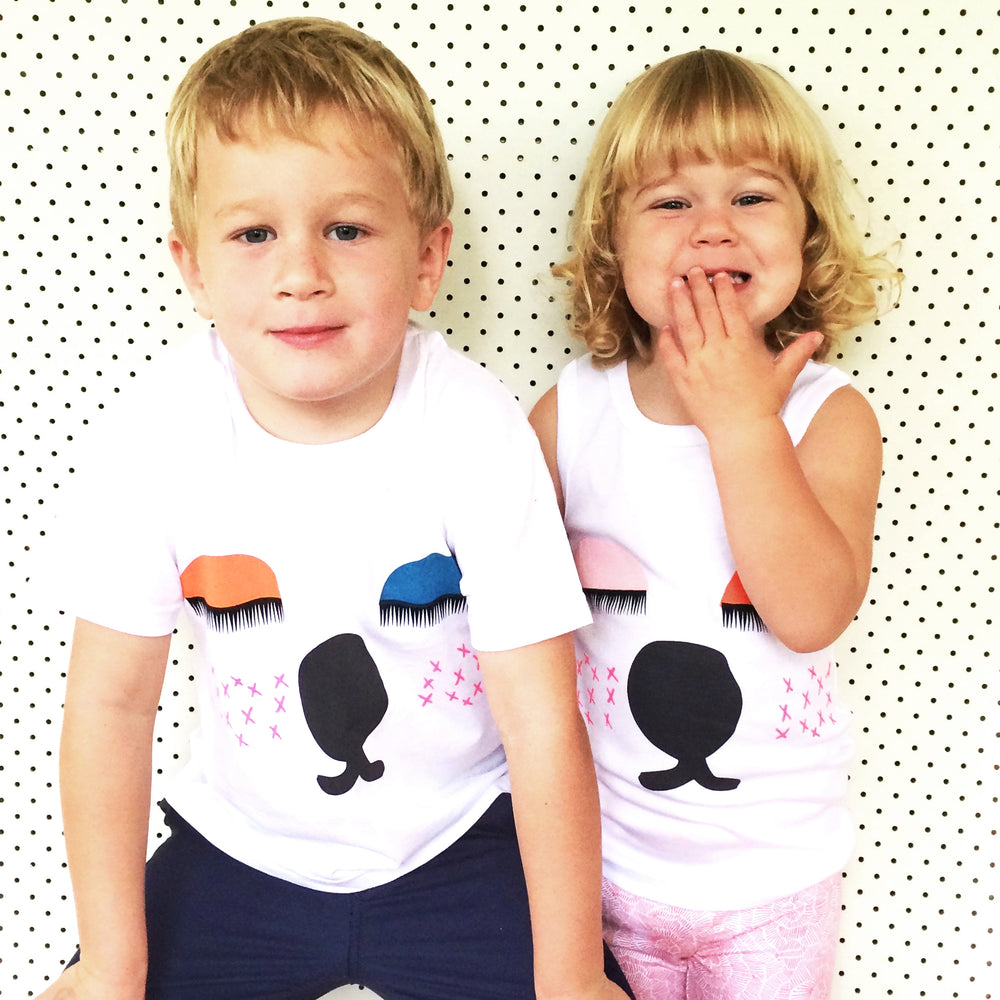 """Snoozy Bear"" Organic White Cotton Screen Printed 3-4 size kids Top"