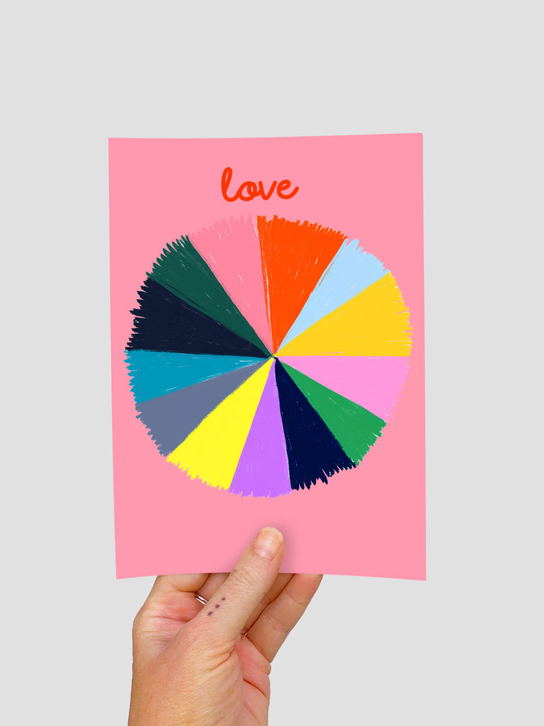 Colour Love Wheel (large) A5 Postcard