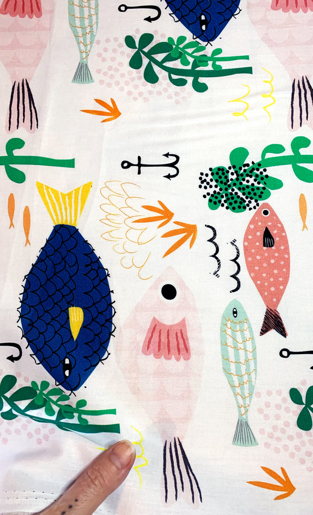Fishy Fun 100% cotton satin per metre