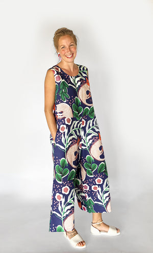 Load image into Gallery viewer, Cat Nap 100% linen jumpsuit (navy) with tie