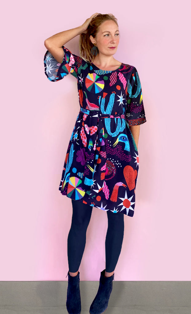 AVAILABLE NOW Dark Spells 100% cotton dress with tie